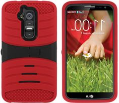 myLife Blood Red and Black {Durable Dual-Colored Kickstand Design} 3 Piece Hard and Soft Case for the LG G2 Smartphone (External Soft Silicone Flexible Bumper Gel + Internal Rubberized 2 Piece Snap On Hard Safe Shell)