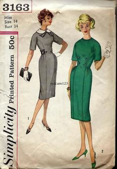 Vintage 1959 Slim Skirt Gored Dress Detachable Collar by sydcam123, $12.00
