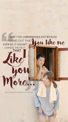 Descendants Of The Sun--Song joong ki --Song hye kyo Korean Drama Funny, Korean Drama Quotes, Korean Drama Movies, Korean Dramas, My Shy Boss, Decendants Of The Sun, Kim Myungsoo, Song Joon Ki, Sun Song