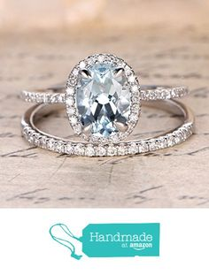 Oval Aquamarine Engagement Ring Sets Pave Diamond Wedding 14K White Gold 7x9mm…