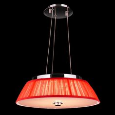 Euro Style 6-light Chrome Finish LED with Red String Shade 16-inch Wide Modern Pendant