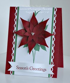 How to Make a Paper Poinsettia by Gayle Wheeler...Stampingville. Stampin' Up! SU I love it when there are uses for punches and stamps that I have because their intend use.