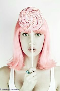 Pastel pink hair & candy.
