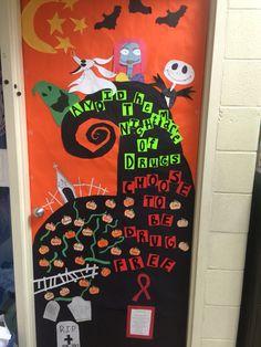 """Nightmare Before Christmas Red Ribbon Week Door. """"Avoid the Nightmare of Drugs"""""""