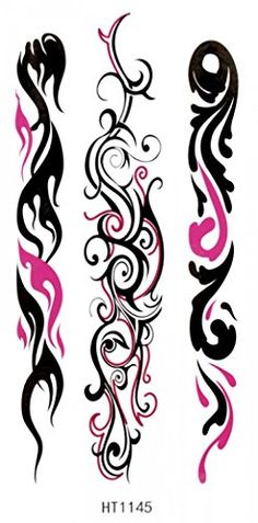 "fashionable and hot selling new product tattoo size: 4.92""x2.56"" black and pink totem realistic temporary tattoo stickers. Safe and non-toxic design ideal for body art. Professional grade made to last 3 to 5 days and easily transferred by water. Perfect for vacations, girls night, pool parties, bachelorette parties, or any other event you want to look glamorous."