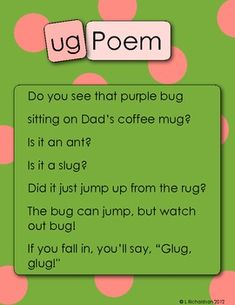 This free set contains a poem and 10 activities for the -ug word family!Word family poems contain word family and sight word vocabulary children can read with activities for your poetry center, independent word family center or group work. Poems are a great way to introduce early readers and writers to word family and sight word vocabulary.