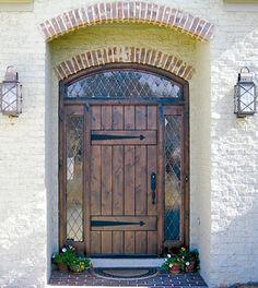 Rustic Fiberglass Door With Speakeasy Straps V Grooved