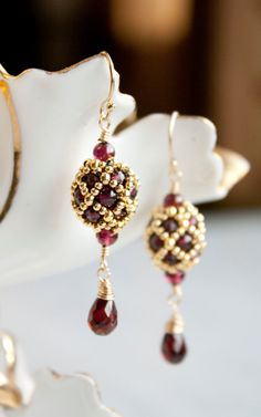 Garnet and Gold filled Drop Earrings Hand Beaded Artisan