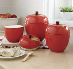 Apple Canister Set has gaskets that seal out moisture— keeping foods apple-fresh Hand-painted glazed ceramic. Kitchen Canisters, Kitchen Items, Kitchen Dining, Kitchen Decor, Red Clock, Kitchen Storage Solutions, Canister Sets, Glazed Ceramic, Kitchen Essentials