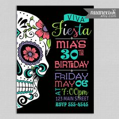 Sugar Skull Fiesta Birthday Party Invitations Printed by NuanceInk
