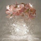 Garland Lights Wedding Centerpiece-Pink Hydrangeas