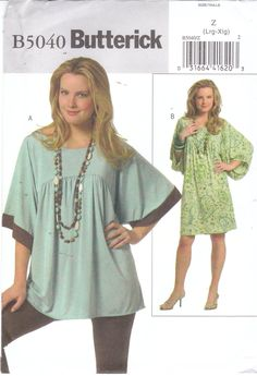 Easy sewing pattern for womens plus size loose fitting, pullover stretch knit tunic top or dress size 16 18 20 22 Butterick 5040 UNCUT by beththebooklady on Etsy Burda Sewing Patterns, Japanese Sewing Patterns, Plus Size Sewing Patterns, Simplicity Sewing Patterns, Clothing Patterns, Belleza Diy, Tunic Pattern, Chiffon, Sewing Clothes