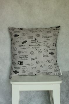 Postcards from Paris Cushion/Pillow Cover 18 46 cm by LukaMish, $35.00