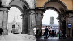 Tranvía de la línea 31, Plaza Mayor-Carabanchel Bajo en 1954 y foto actual de la misma zona (Madrid)