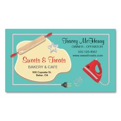 Retro Bakery Cookie Business card. Make your own business card with this great design. All you need is to add your info to this template. Click the image to try it out!