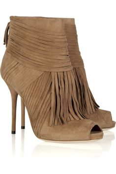 Gucci ankle boots: light-brown multi-strap suede, heel measures approximately 5 inches with a inch platform, zip fastening at back of ankle, fringing at front, almond-shaped peep-toe. Fringe Ankle Boots, Suede Ankle Boots, Ankle Booties, Bootie Boots, Gucci Boots, Shops, Nike Pants, Elegant, Me Too Shoes