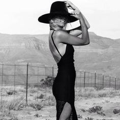 black dress and black hat