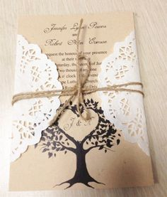 DIY Country Rustic Lace Wedding Invitations at InvitesWeddings.com -InvitesWeddings.com