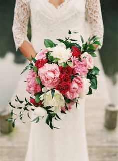 Pink and white peonies and red roses. Would maybe do country roses instead of those ones on mine.