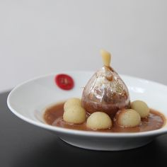 """Valrhona C3: """"La Poire Belle Helene"""" by Pastry Chef Nicolas Blouin from USA - Guanaja Sponge, Poached Pear, Pear Sorbet, Guanaja 70% Pastry Cream, Chocolate Fleur de Sel Cookie, Guanaja 70% Chocolate Ginger Emulsion and Blown Sugar"""