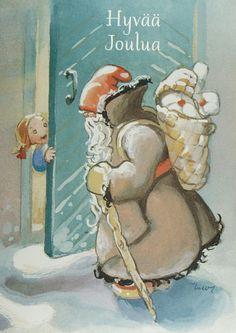 Old Christmas, Christmas Gnome, Christmas Scenes, Scandinavian Christmas, Vintage Christmas Cards, Christmas Pictures, Christmas Greetings, Vintage Cards, Vintage Postcards