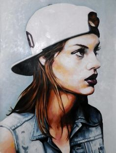 "Thomas Saliot. ""White Cap Babe"". Oil Paint.    