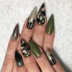 Nail Art Designs In Every Color And Style – Your Beautiful Nails Camo Nail Designs, Nail Art Designs, Acrylic Nail Designs, Popular Nail Designs, Camo Nails, Camo Acrylic Nails, Gothic Nails, Acrylic Nail Shapes, Chrome Nails