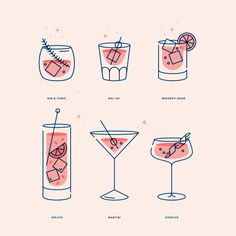 Monolinear cocktail illustrations / icons — Kenny Coil