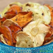 These sweet potato and parsnip chips are perfect when you're craving something salty.  A few minutes in the microwave and you have a healthy alternative to potato chips.