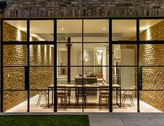 Crittal doors and exposed brickwork with a contemporary kitchen Glass Extension, House Extension Design, Rear Extension, Crittall Extension, Extension Ideas, House Design, Crittal Doors, Crittall Windows, Steel Doors And Windows