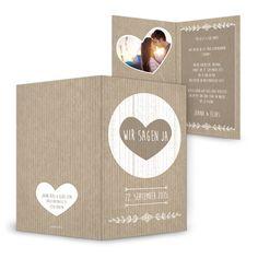 Herzige Hochzeitseinladung Einsteckkarte Packpapier - Joana