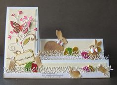 Hello crafty friends Pam here. One week to Easter here in the UK. not a card I usually make Easter Cards. Thought I would make this side stepper Easter card using my Poppystamps Easter Projects, Easter Crafts, Easter Ideas, Fancy Fold Cards, Folded Cards, Center Step Cards, Side Step Card, Stepper Cards, Shaped Cards