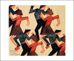 Folk Dance c. 1932 A linocut print by Cyril E Power (1874-1955)