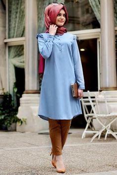Gamze Polat Mavi Kot Stil Fırfırlı Tesettür Tunik