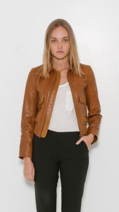Patch Pocket Leather Jacket by Helmut Lang