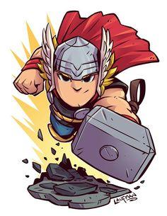 Chibi Thor by Derek Laufman Chibi Marvel, Marvel Art, Marvel Dc Comics, Marvel Heroes, Thor Marvel, Heroes Comic, Flash Comics, Thor 2, Cartoon Kunst