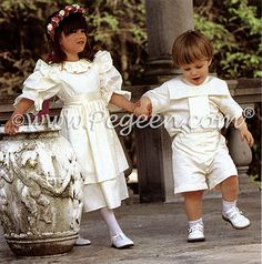 Matching flower girl dresses and boy's ring bearer suit