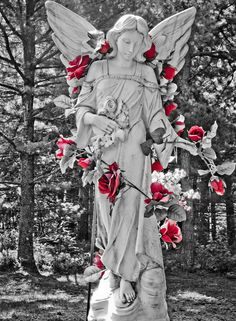 angel adorn with a vine of red roses