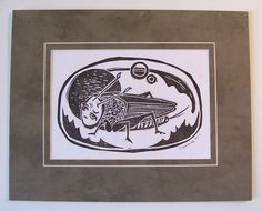 Cricket .... in Space original hand printed limited by craftyhag (Art & Collectibles, Prints, Wood & Linocut Prints, hand pulled print, bug, insect, geekery, weird, space, team fest, etsydarkteam, printsy, nature, planet, lovecraft, science)