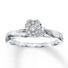 Diamond Engagement Ring 1/10 ct tw Round-cut  10K White Gold! Absolutely love this.