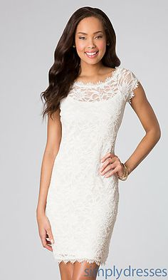 Short Lace Cap Sleeve Dress. This is all I want. Just with an open back. Why is that so hard to find?