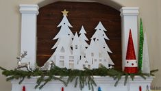 DIY Christmas Village Silhouette Mantel Decor