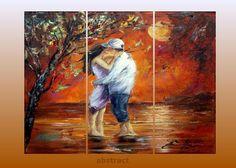 ORIGINAL landscape Painting  - Large Oil Painting Contemporary Artwork-  Love-24x48in, 3 panels 60x120cm