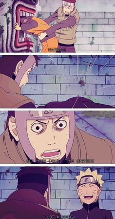 Anime/manga: Naruto (Shippuden) Characters: Naruto and Yamato, this scene scared me in the anime for a moment, but then I was like hah hah!