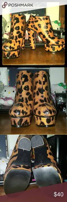 Iron Fist Change Your Spots Ankle Boots Unique leopard print ankle boots with skulls mixed in with the leopard spots. 5 in heel 1.5 in platform. Zip up the back. Sizes 5 and 6 have the box and extra heel bottoms, size 9 does not. I thought I was going to keep those, but it turns out my feet grew a size while I was pregnant and I can't wear them :-( so they're nwob, but will be packed and shipped safely, no worries Iron Fist Shoes Ankle Boots & Booties