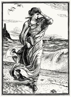 """""""Then the princess left the cave and wandered down to the sea-shore."""" Walter Crane, from The necklace of Princess Fiorimonde and other stories, by Mary De Morgan, London, 1886"""
