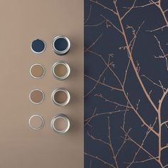 Deep, rich midnight tones are perfectly highlighted with copper metallic on this beautifully textured wallpaper. Brown Bedroom Decor, Blue Bedroom Colors, Copper Bedroom, Blue Bedroom Walls, Brown Decor, Blue Bedrooms, Blue And Copper Living Room, Navy Living Rooms, Navy And Copper