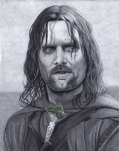 Viggo Mortensen as Aragorn from Lord of the Rings. Artwork done with Copic markers and black and white ink pens.