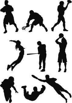 Vectores libres de derechos: Silhouette of sports people in action