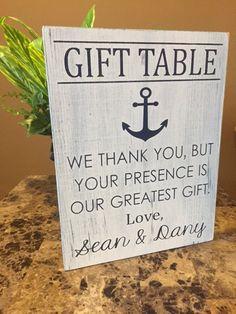 Wedding gift table sign Nautical themed wedding wedding